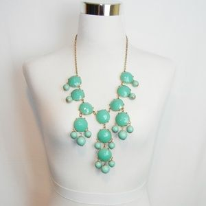 J Crew Green Teal Bubble Statement Bib Necklace 29